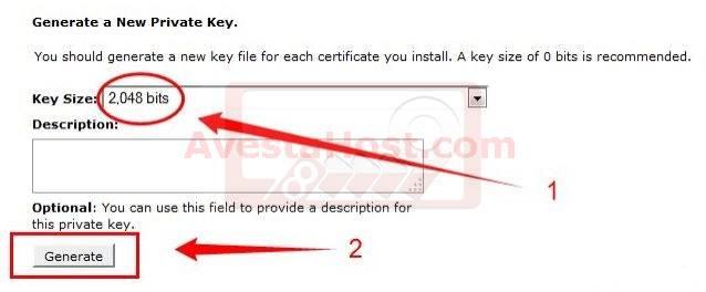ایجاد یک کلید خصوصی جدید